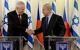 Czech Republic President Milos Zeman, left, and Prime Minister Benjamin Netanyahu in Israel on Monday October 7. (Kobi Gideon/GPO/Flash90)