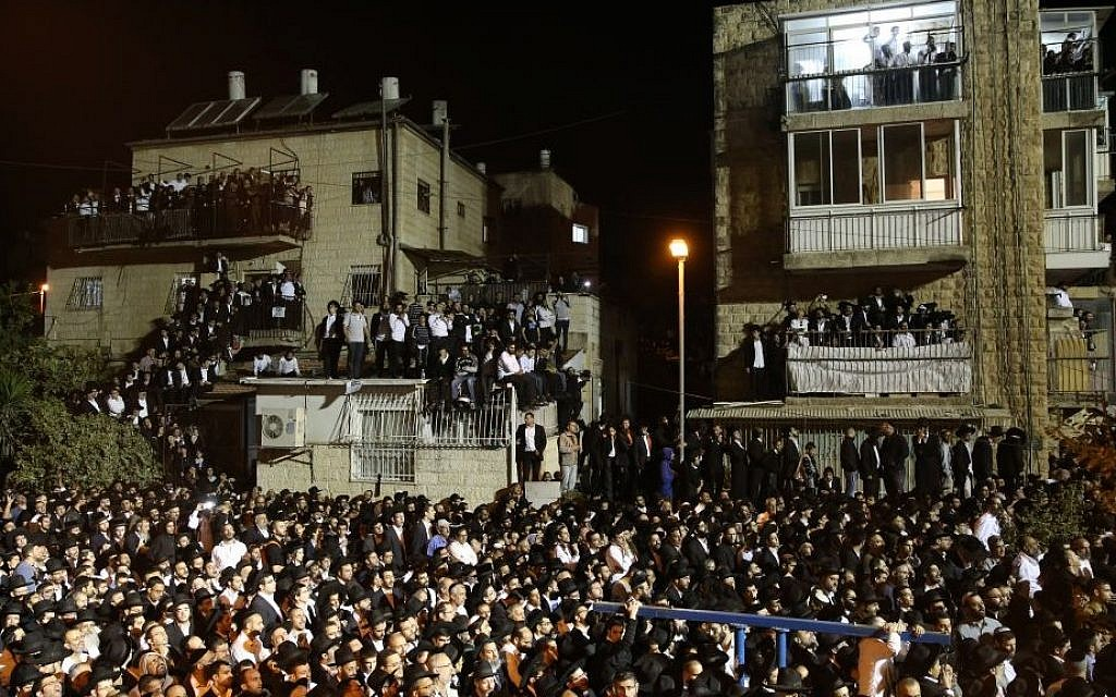 Hundreds of thousands attend the funeral procession of Shas spiritual leader Rabbi Ovadia Yosef on Monday, in Jerusalem (photo credit: Nati Shohat/Flash90)
