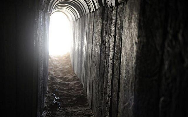A view of a tunnel dug by Palestinians beneath the border between the Gaza Strip and Israel and recently uncovered by Israeli troops, on October 13, 2013. (photo credit: David Buimovitch/Flash90)