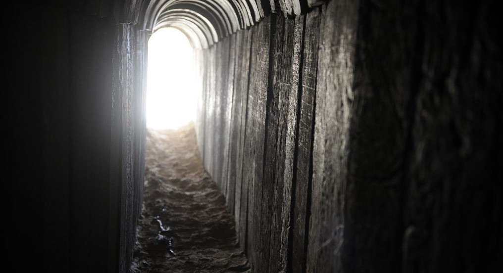 A view of a tunnel dug by Palestinians beneath the border between the Gaza Strip and Israel and recently uncovered by Israeli troops on October 13, 2013 (photo credit: David Buimovitch/Flash90)