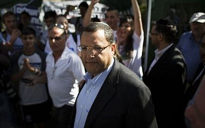 Mayoral candidate Moshe Lion outside an Old Katamon polling station in Jerusalem on Tuesday, Oct. 22, 2013. (photo credit: Yonatan Sindel/Flash90)