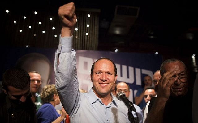 Jerusalem mayor Nir Barkat celebrates with supporters after winning a hard-fought reelection race, Wednesday, October 23, 2013 (photo credit: Yonatan Sindel/Flash90)