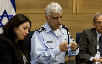MKs Miri Regev and Nachman Shay flank Commander Manny Yitzhaki at a Knesset hearing, Wednesday, October 30, 2013 (photo credit: Flash 90)