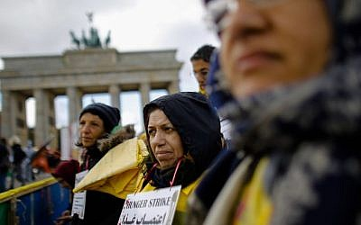 Iranian dissidents protest outside the US Embassy in Berlin, on Friday (photo credit: AP/Markus Schreiber)
