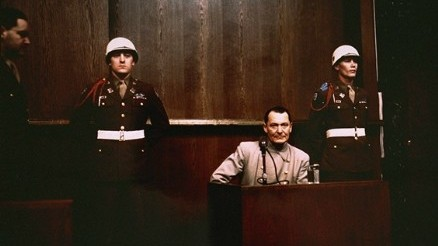 Hermann Goering on the witness stand at the Nuremberg trials. (photo credit: US Government/public domain)
