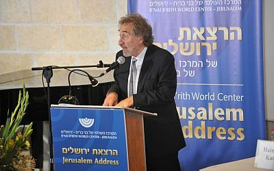 Award-winning novelist Howard Jacobson delivers the Jerusalem Address for B'nai B'rith Wold Center at Mishkenon Sha'ananim (Courtesy B'nai B'rith World Center)
