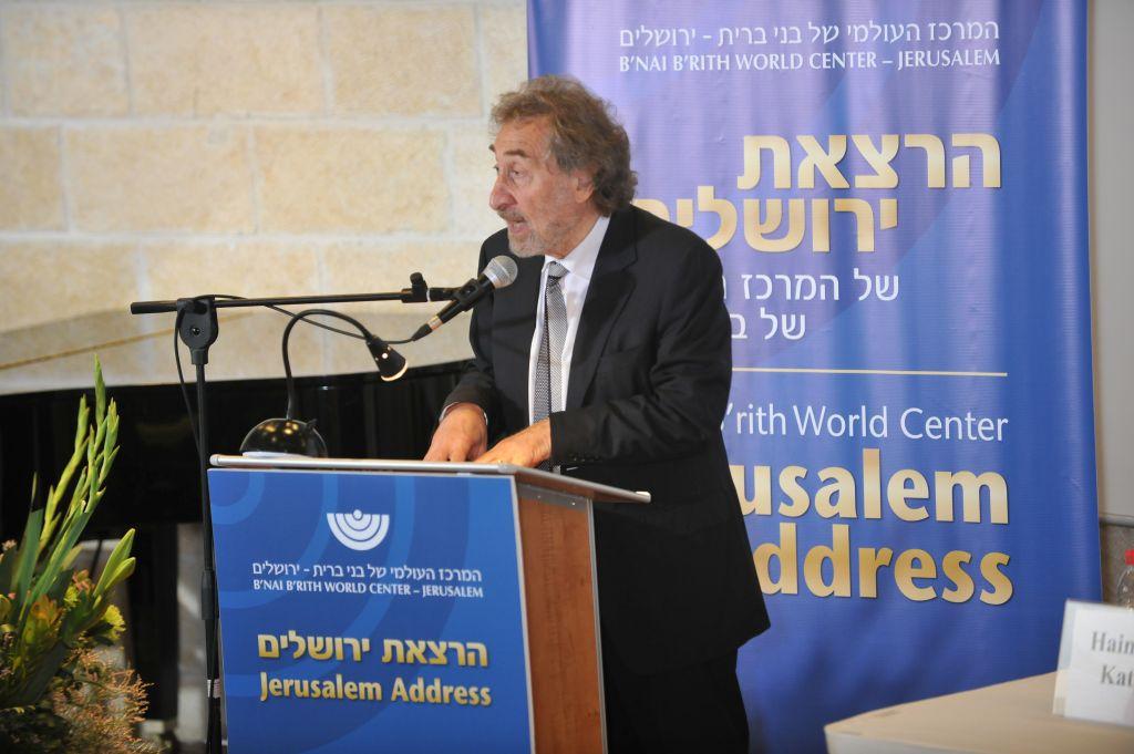 Award-winning novelist Howard Jacobson delivers the Jerusalem Address for B'nai B'rith Wold Center at Mishkenon Sha'ananim (Courtesy B'nai B'rith World Center)