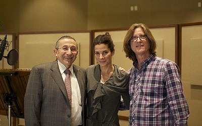 Rabbi Marvin Hier with Sandra Bullock, who provides voice for Golda Meir in the film, and Richard Trank. (photo credit: Courtesy of Moriah Films)