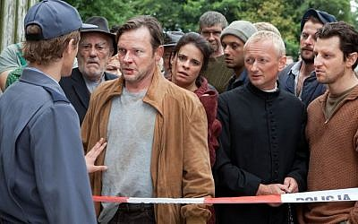 Franek confronting the Town in 'Aftermath.' (photo credit: courtesy)