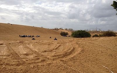 A look at Ashdod's sand dunes from below (photo credit: Jessica Steinberg/Times of Israel)