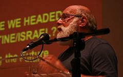 Jeff Halper of the Israeli Committee Against House Demolitions addresses the audience at the Zochrot conference, September 29, 2013 ( courtesy/Zochrot/ Ele'onor Merza)