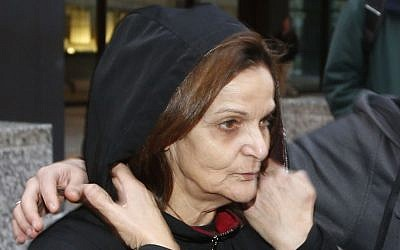 Rasmieh Odeh departs a US federal courthouse in Chicago, on Oct. 22, 2013 (photo credit: AP/Charles Rex Arbogast)