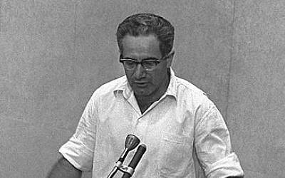 Israel Guttman at the trial of Adolf Eichmann in 1961 (photo credit: Wikimedia Commons, Israel National Photo Collection)