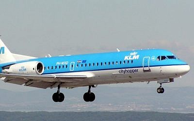A KLM Royal Dutch airplane (Wikimedia commons/ Arpingstone- public domain)