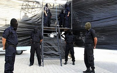 This photograph released by the Gaza Strip Interior Ministry purports to show a gallows prepared for the execution of Hani Abu Aliyan, a 28-year-old convicted of killing two people, in the Gaza Strip, Wednesday, Oct. 2, 2013. (AP/Gaza Interior Ministry)