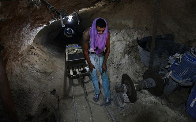 A Palestinian smuggling tunnel (photo credit: AP/Hatem Moussa)