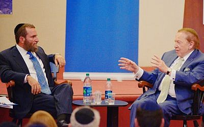 Sheldon Adelson (right) and Rabbi Shmuley Boteach participate in a New York panel about Israel and Iran, Tuesday, October 24, 2013 (photo credit: courtesy)