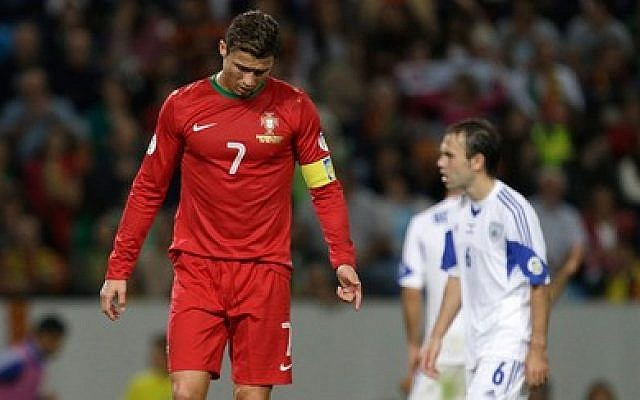 Portugal's Cristiano Ronaldo during a tied World Cup qualifier game against Israel, Friday, Oct 11, 2013 (photo credit: AP)