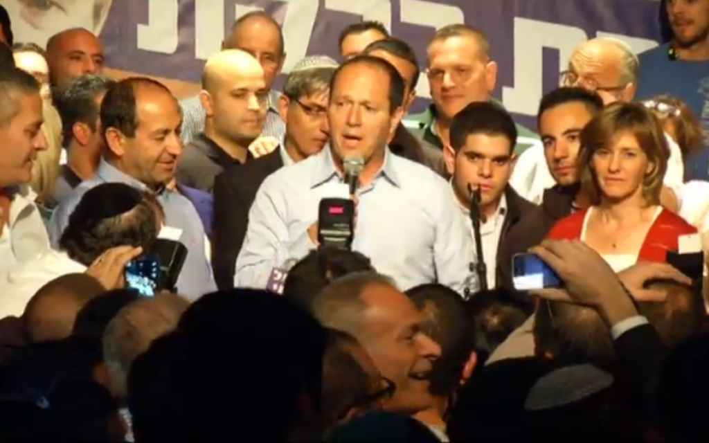 Nir Barkat delivers a victory speech after winning the Jerusalem mayoral race, early on October 23, 2013 (photo credit: Walla screenshot)