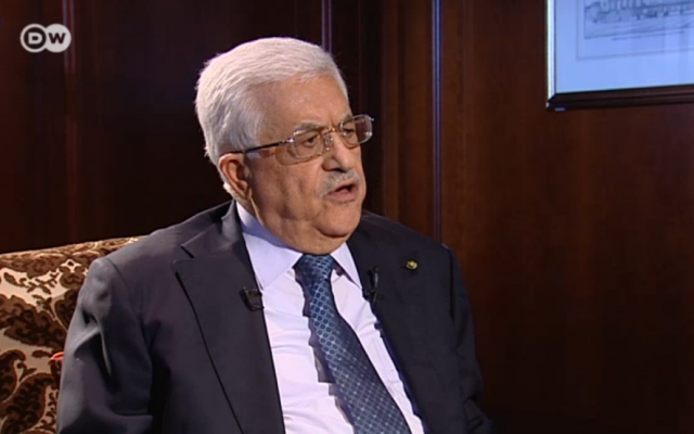 PA President Mahmoud Abbas during an interview with German TV (screen capture: Deutsche Welle television)
