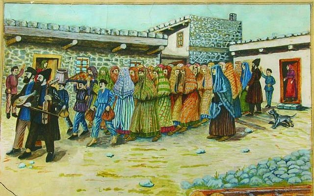 A photo of a painting by Shalom Koboshvili, 'Taking the bride to the bath house (mikveh),' watercolor on paper (Wikimedia Commons/public domain)