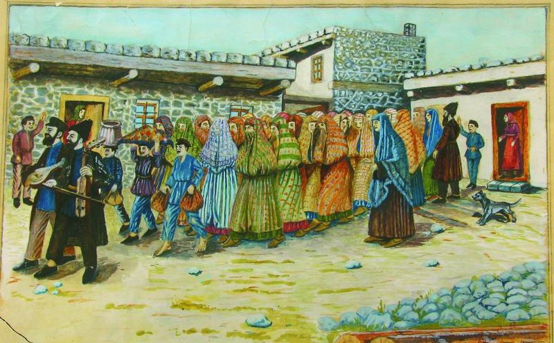 A photo of a painting by Shalom Koboshvili, 'Taking the bride to the bath house (mikveh),' watercolor on paper (photo credit: Wikimedia Commons)
