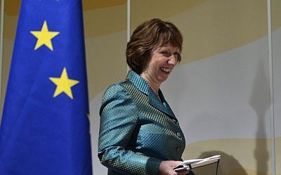 EU High Representative for Foreign Affairs and Security Policy Catherine Ashton smiles during a press conference after two days of closed-door nuclear talks on Iran in Geneva, Switzerland, Wednesday, October 16, 2013. (photo credit: AP/Keystone, Martial Trezzini)
