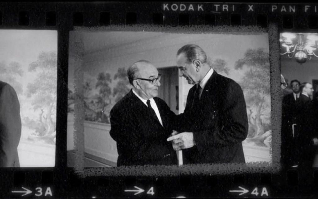 Photo proofs from a critical meeting between president Lyndon Johnson and prime minster Levi Eshkol at LBJ's Texas ranch in January 1968, as seen in 'The Prime Ministers.' (photo credit: courtesy)