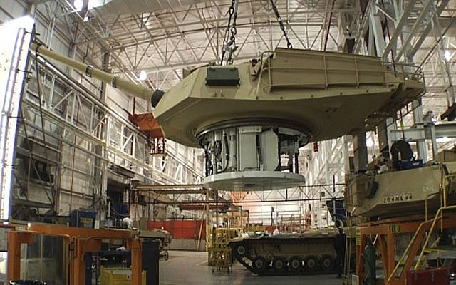 This undated file photo provided by the General Dynamics Land System shows the production of an Abrams tank in Lima, Ohio.  (Photo credit: AP/General Dynamics Land System, File)