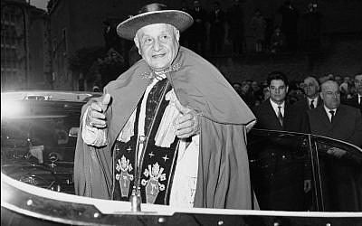 In this file photo taken in March, 1962, Pope John XXIII is shown outside the Church of Canadian Martyrs in Rome. (photo credit: AP Photo)