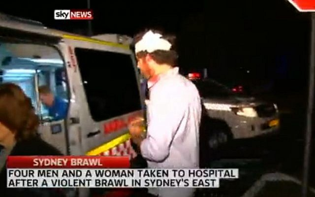 Screenshot from a video report broadcast by Sky News showing the aftermath of an anti-Semitic attack in Sydney, Australia, on October 25, 2013, in which five people were injured.