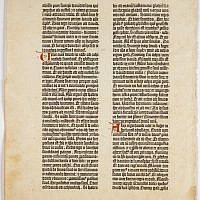 Gutenberg Bible leaf of I Samuel. Print and pigment on paper. Mainz, Germany, c. 1450. (photo credit: Green Collection, Ardon Bar-Hama)