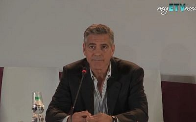 George Clooney, August 2013. (screencapture: Youtube/ myETVmedia)