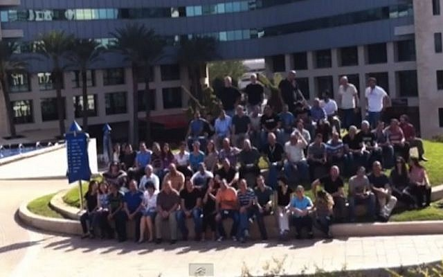 The Alcatel-Lucent's team outside the company's Israel headquarters (Photo credit: Courtesy)