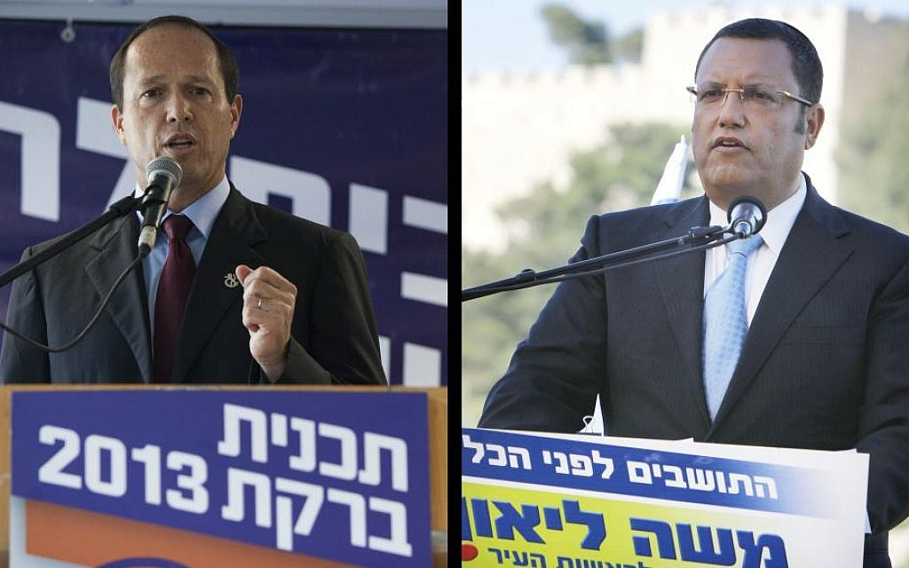 Left, Mayor of Jerusalem Nir Barkat, seen at a press conference in Jerusalem on August 20, 2013, as he opens his campaign for the mayoral elections. (photo credit: Yonatan Sindel/Flash90). Right, Jerusalem mayoral candidate Moshe Lion, at a press conference, July 22, 2013 (photo credit: Miriam Alster/Flash90)