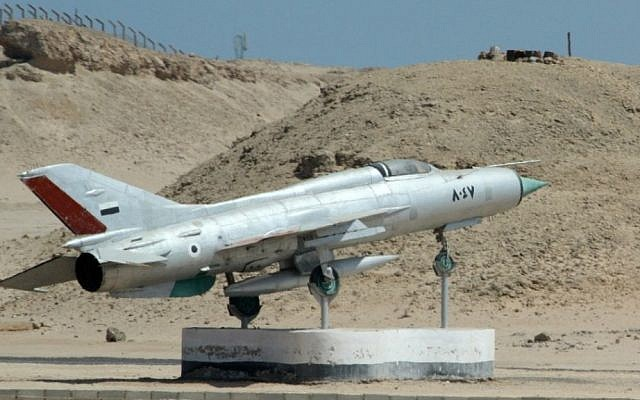 An Egyptian MiG-21 jet fighter on display outside Hurghada, on the Red Sea coast (photo credit: CC BY RHL Images/Flickr)
