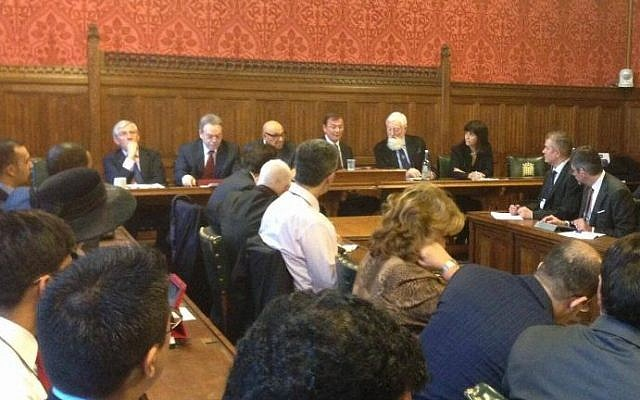Jack Straw (far left) and Einat Wilf (far right) pictured at last week's Round Table Global Diplomatic Forum at the House of Commons (photo credit: Courtesy)