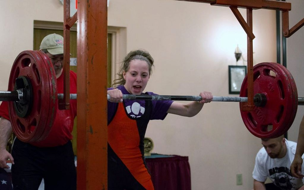 Naomi Kutin takes a cue from her ancestor Samson and power lifts. (photo credit: courtesy)
