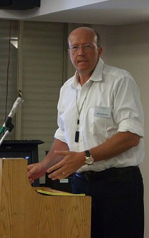 Grabowski speaking recently at Yad Vashem in Jerusalem. (photo credit: courtesy)