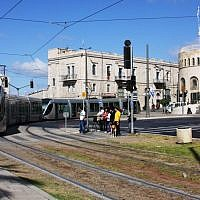 The Jerusalem Light Rail at IDF Square (photo credit: Shmuel Bar-Am)