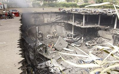 The remains of cars and other debris at the Westgate mall in Nairobi, Kenya, following an attack by Islamic militants, on September 26, 2013 (photo credit: JTA/Kenyan Presidential Press Service/via Getty Images)