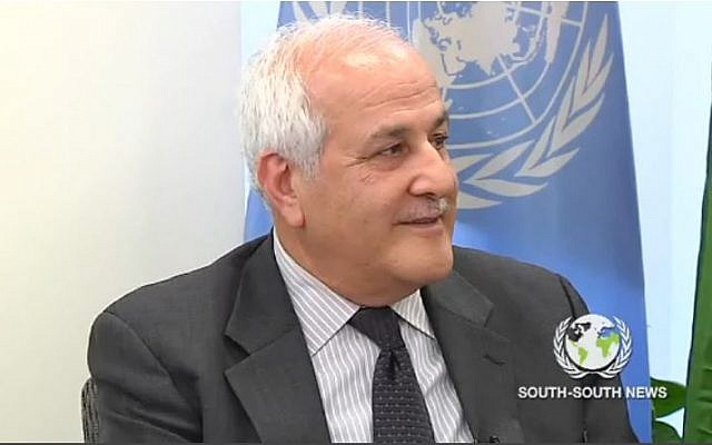 Palestinian envoy to the United Nations Riyad Mansour (screenshot via YouTube)