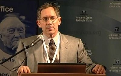 Director of Palestinian Media Watch Itamar Marcus. (screen capture: Youtube/TheJerusalemCenter)