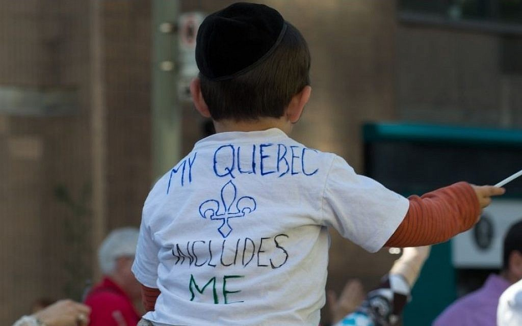Montreal Jews protesting the proposed Charter of Quebec Values, which aims to restrict public displays of religious faith. (photo credit: David Ouellette/JTA)