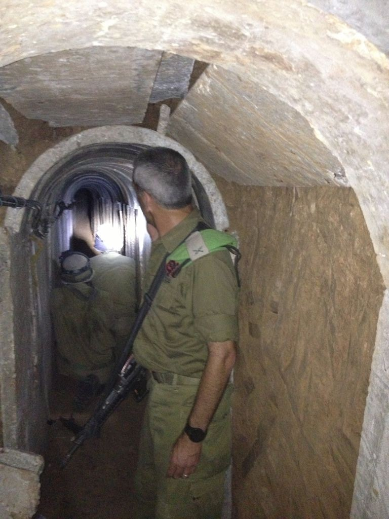 Brig. Gen. Michael Edelstein, Gaza Division commander, inside a tunnel dug from the Gaza Strip to Israel, October 13, 2013. (photo credit: Times of Israel/Mitch Ginsburg)
