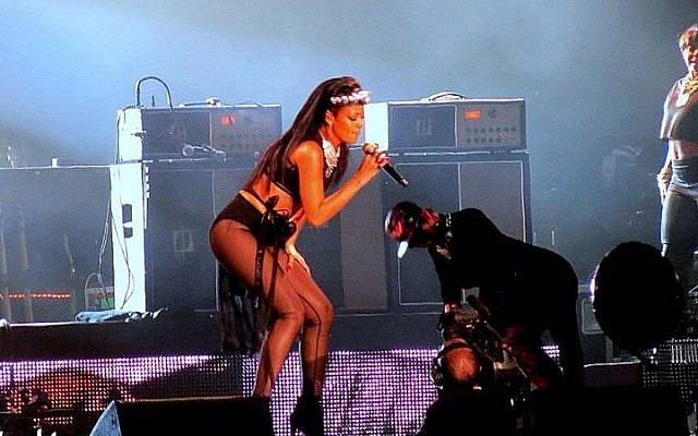Rihanna on stage in Tel Aviv, October 22, 2013 (photo credit: Eden Mor)