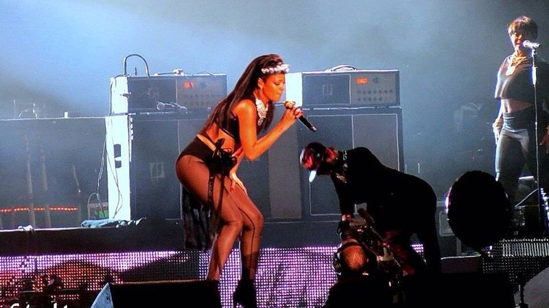 Rihanna on stage in Tel Aviv, October 22, 2013 (photo credit: Eden Mor)