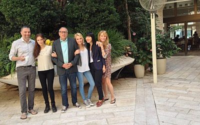 Anson Mount, Zoey Deutch, Howard Deutch, Madelyn Deutch, Vivian Bang and Lea Thompson (photo credit: Jessica Steinberg/Times of Israel)