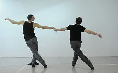 Not all movements and gestures are meant to be pretty in the duet. (photo credit: Gadi Dagon)