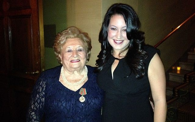 Bielski partisan Leah Johnson with her granddaughter Tanya Johnson at the JPEF tribute dinner in New York. (photo credit: Renee Ghert-Zand)